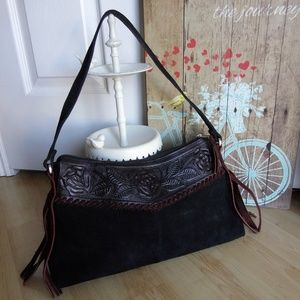 VTG American West Tooled Leather Seude Purse Fring